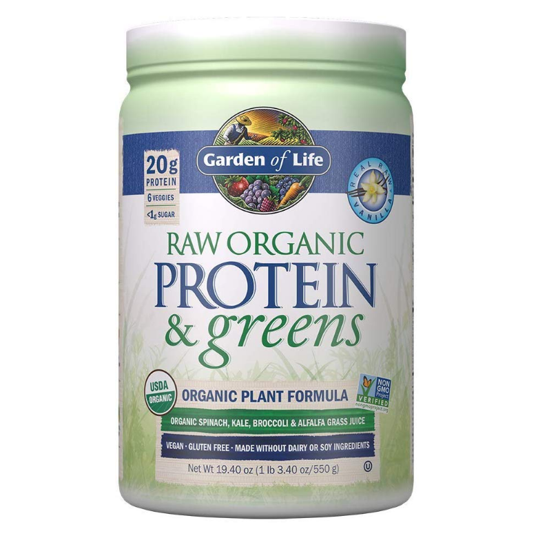 Garden of Life - Raw Protein & Greens, Organic Plant Formula, Real Raw Vanilla - 19.3 oz (548 g) - AM VITAMINS
