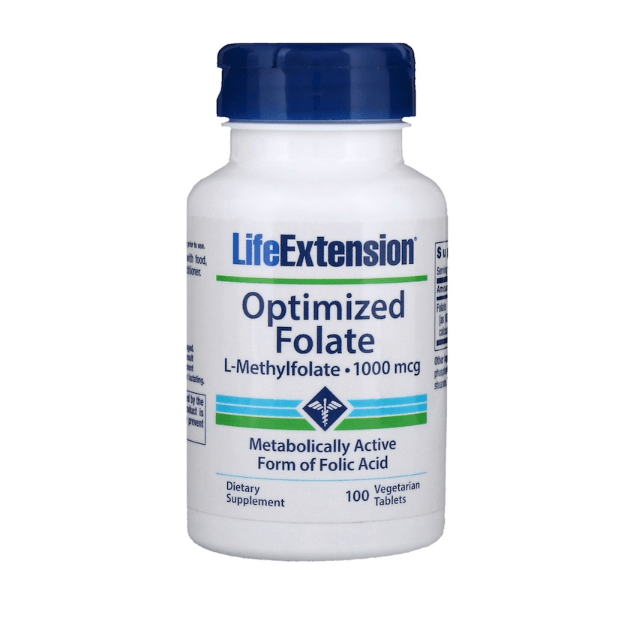 Life Extension - Optimized Folate, 1,000 mcg - 100 Vegetarian Tablets - AM VITAMINS