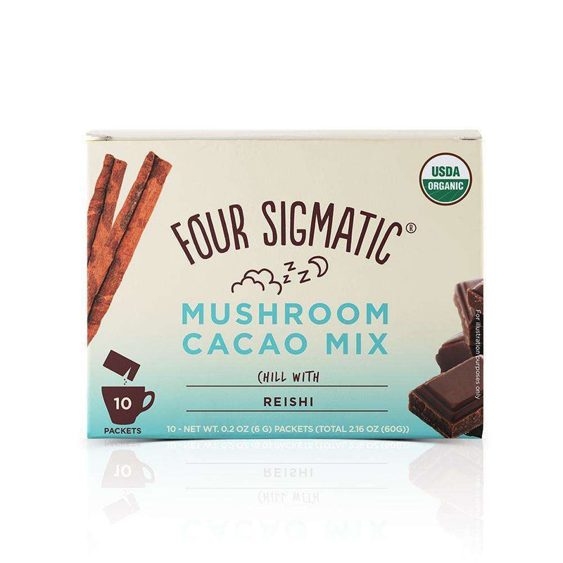 Four Sigmatic - Mushroom Cacao Mix, Sweet+ Cinnamon - 10 Packets, 0.2 oz (6 g) Each - AM VITAMINS