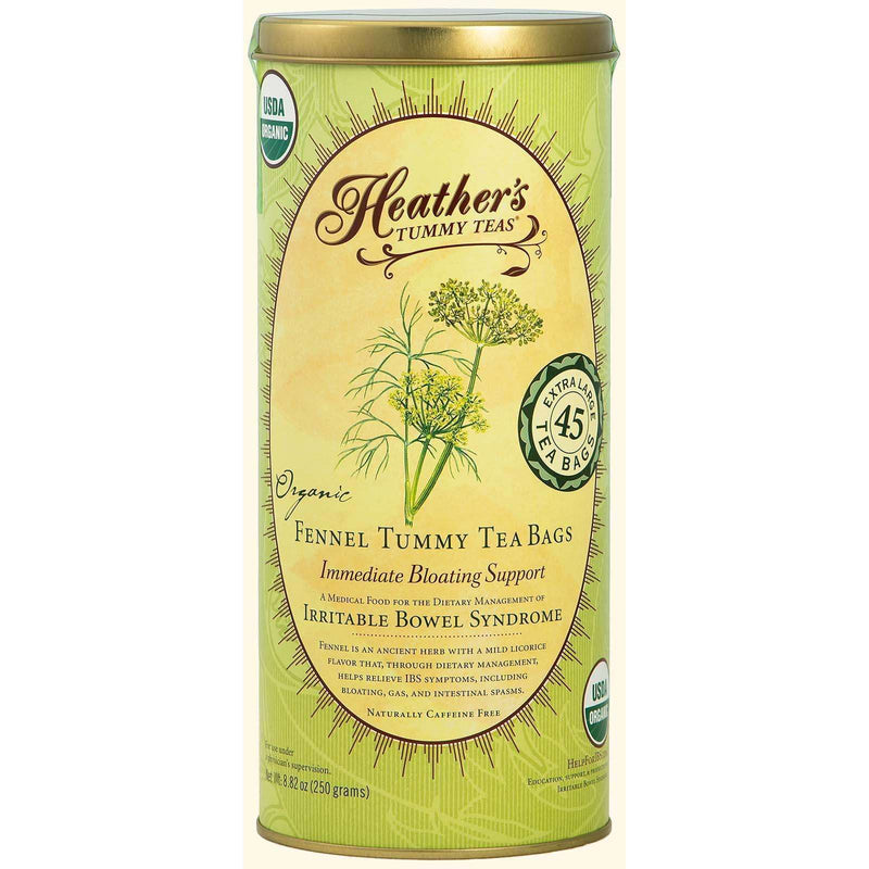 Heather's Tummy Care - Tummy Teas, Organic Fennel Tea Bags, Caffeine Free - 45 Tea Bags, 8.82 oz (250 g) - AM VITAMINS