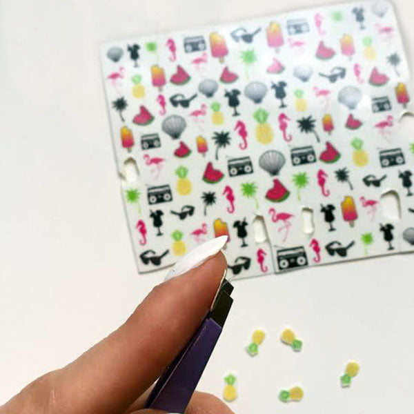 Instructions on how to apply nail decals with Moinca Hues on Young and Able