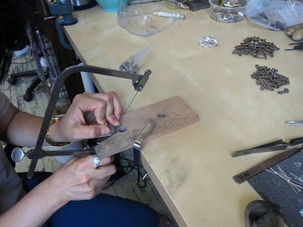 Jewelry designer Michelle Hur creating jewelry