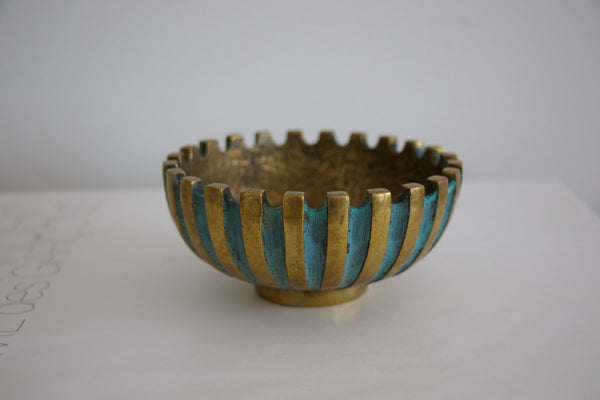 Brass and turqoise bowl