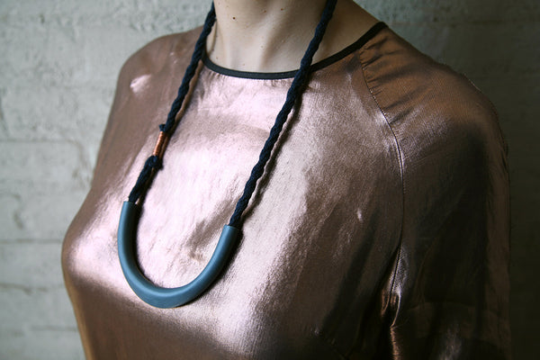 Charcoal Neck Ring Necklace - Young & Able  - 2