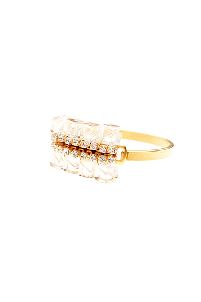 Double Sqare Bead Cuff- Gold/Clear - Young & Able