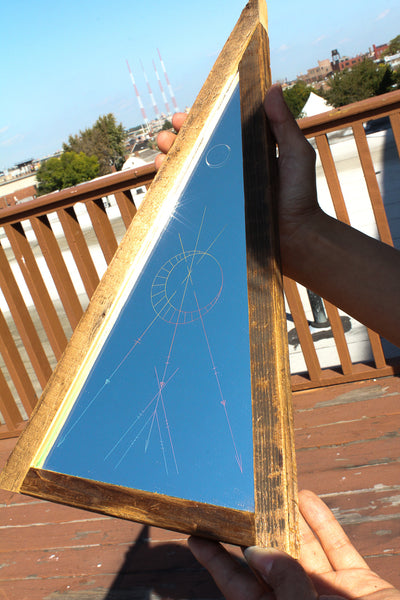 one of a kind etched pyramid mirror - Young & Able  - 2