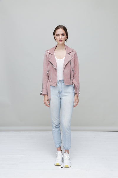 Faye Light Pink Suede Biker