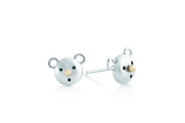 Gold Nose Bear Stud Earrings