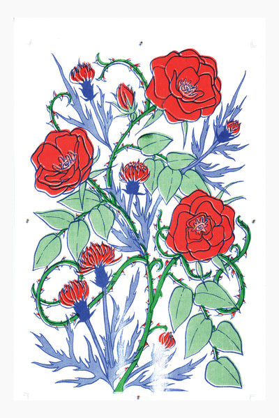 Rose and Thistle Risograph Art Print