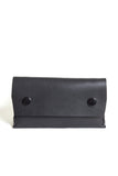 Black puffy leather wallet with double snap closures - Young & Able  - 1