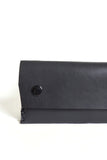 Black puffy leather wallet with double snap closures - Young & Able  - 2