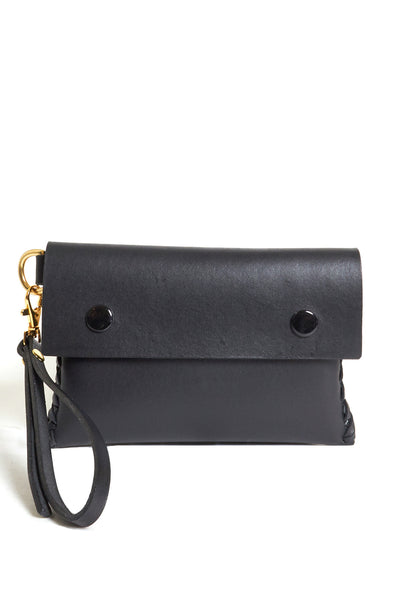 Black Puffy Leather Clutch - Young & Able  - 1