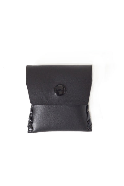 Black Leather wallet with single snap closure - Young & Able