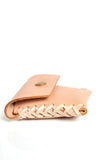 Nude puffy Leather wallet with single snap closure - Young & Able  - 2