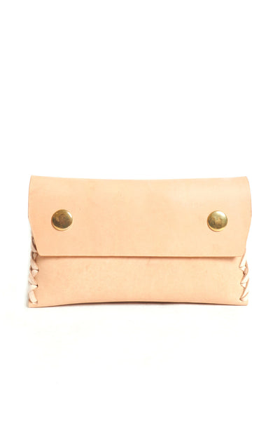 Nude puffy leather wallet with double snap closures - Young & Able  - 1