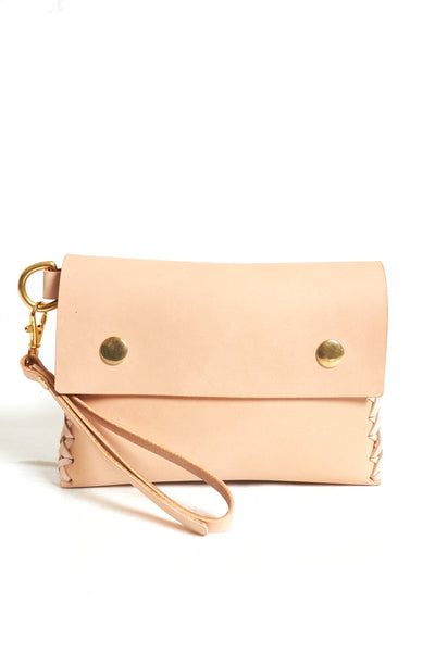 Nude Puffy Leather Clutch - Young & Able  - 1