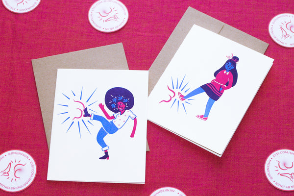 Ladies Kicking Butt Letterpress Card (Khutulun)