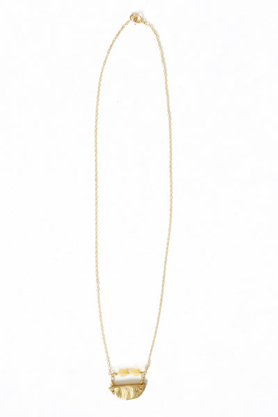 Opal and Brass Pendant Necklace - Young & Able  - 2
