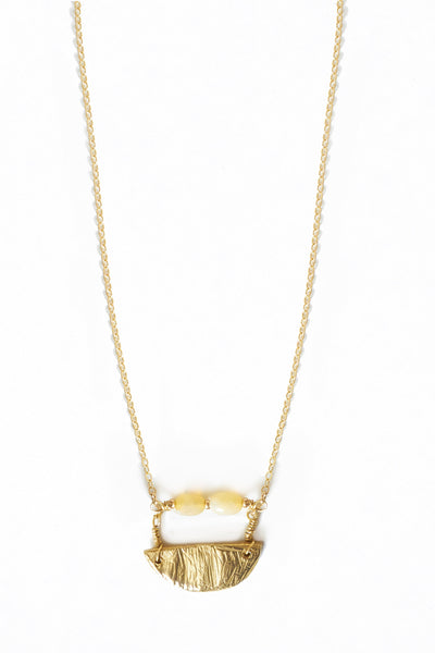 Opal and Brass Pendant Necklace - Young & Able  - 1