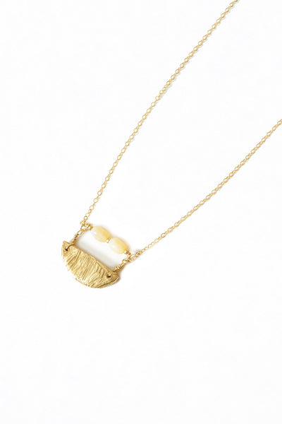 Opal and Brass Pendant Necklace - Young & Able  - 3