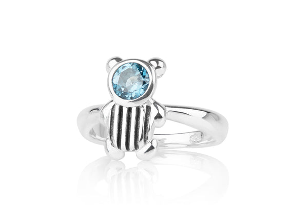 Stripe Gemstone Bear Ring