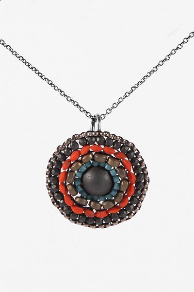 Hematite Woven Circle Necklace
