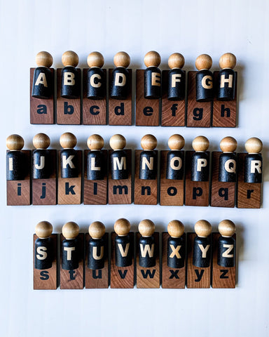 Minimalist Alphabet Peg Doll Set