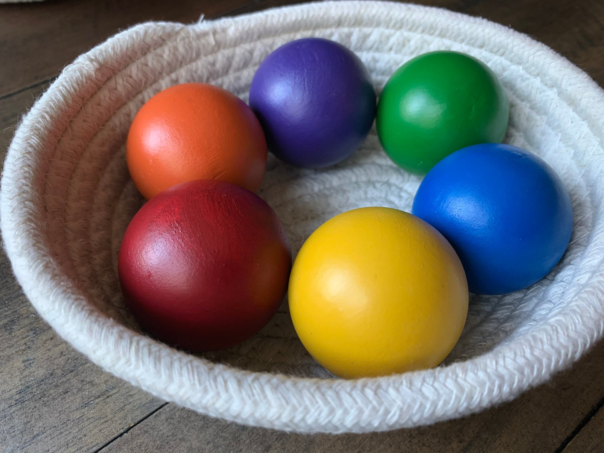 Set of 6  Wood balls , toddler learning, open play, open ended, montessori toys, waldorf toys