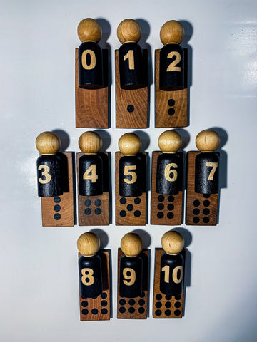 Minimalist Number Matching Peg Dolls - 0-10