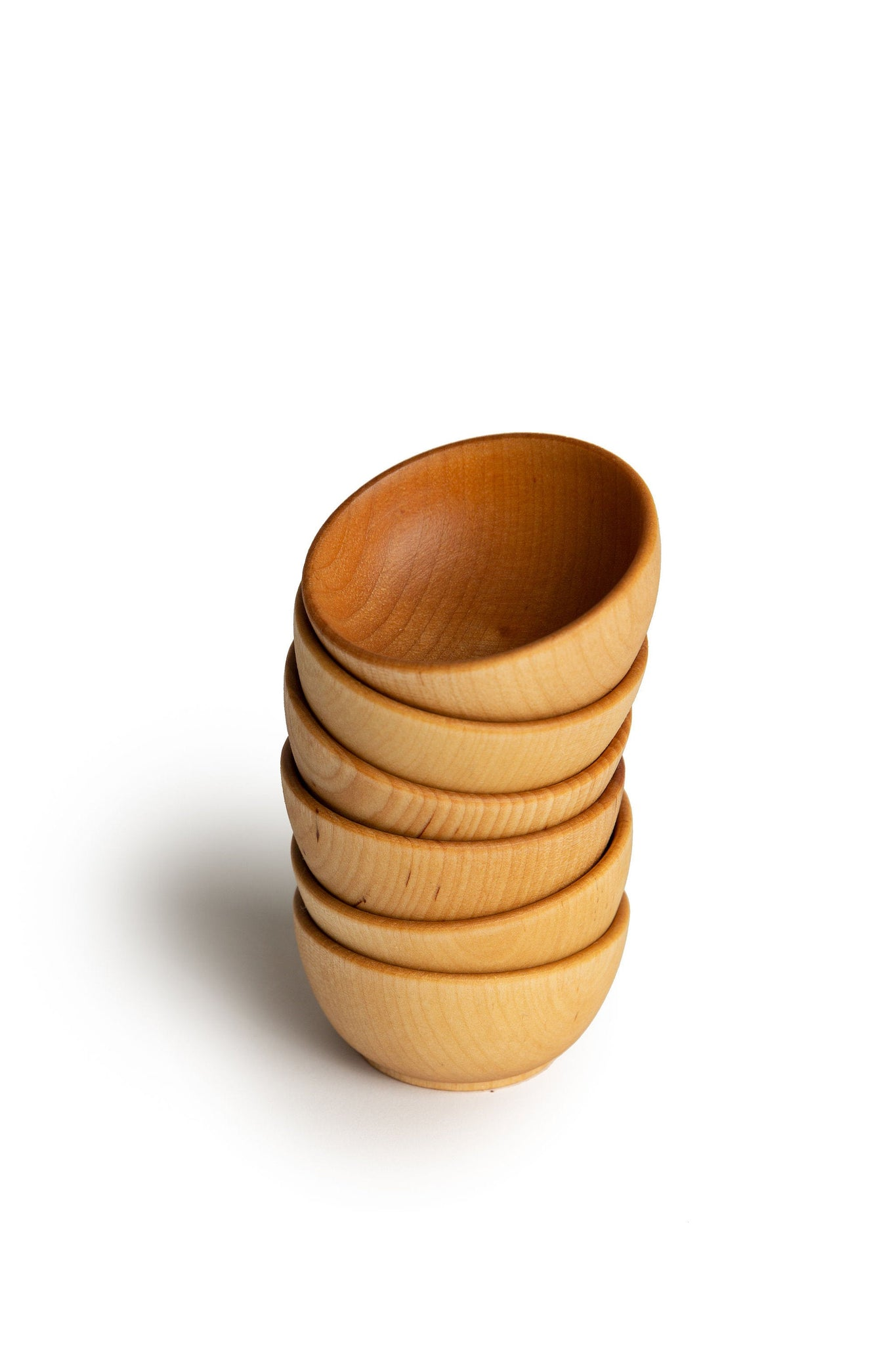 Natural Wooden Stacking Bowls - Set of 6