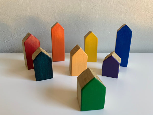 Rainbow Wooden Stacking Houses