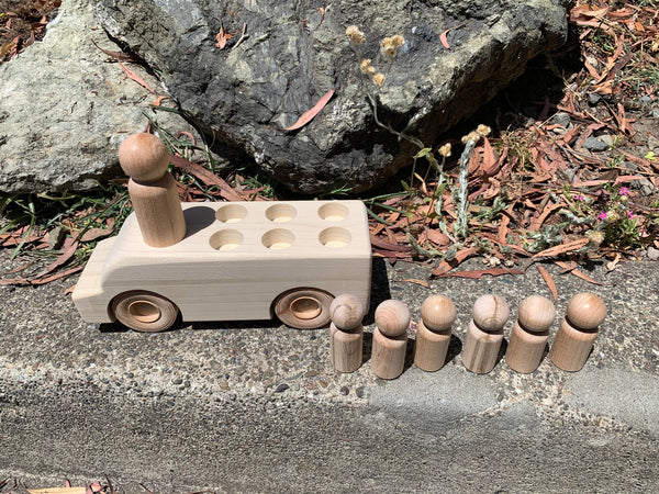 Natural Wooden Peg Doll Bus / Vehicle