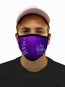 Purple Merry Christmas Mask with Filter Pocket