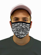 Load image into Gallery viewer, Digital Gray Camo Face Mask Filter Pocket