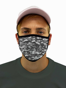 Digital Gray Camo Face Mask Filter Pocket
