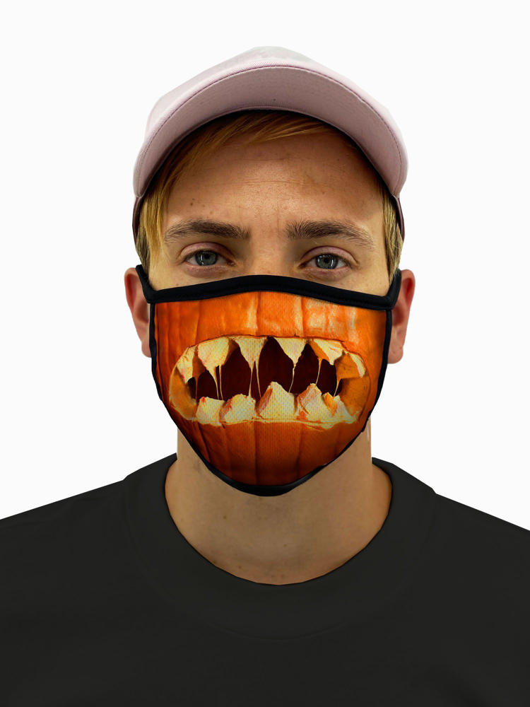 Pumpkin Mouth Halloween Face Mask With Filter Pocket