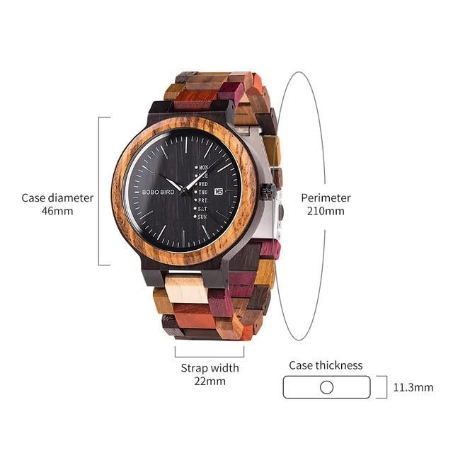 Bobo Bird Blackwood Zebrawood Watch