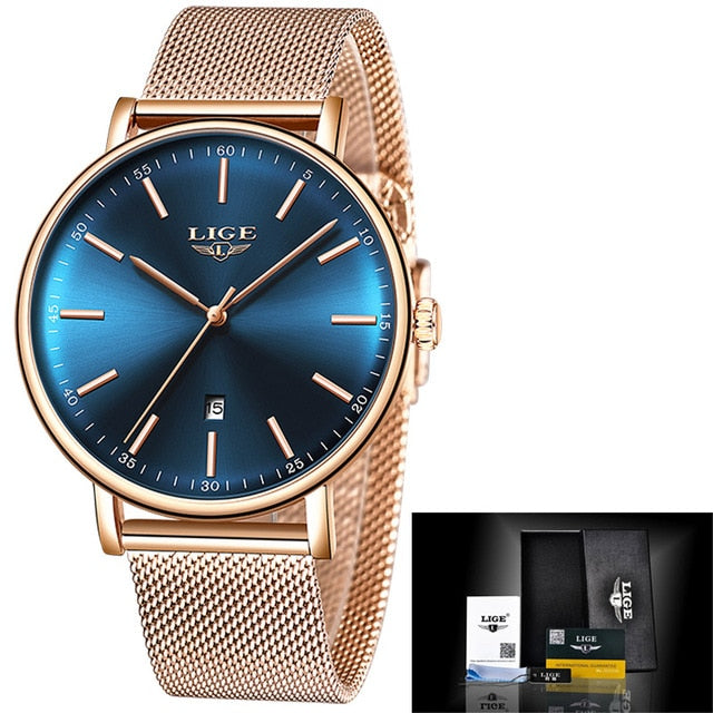 Lige Women's Ultra-thin Stainless Steel Watch