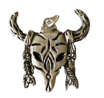 Bull Skull with Feathers amulet