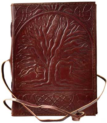 Sacred Oak Tree leather blank book w/ cord