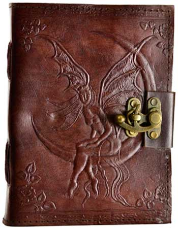 Fairy Moon leather blank book w/ latch