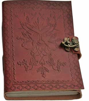 "5"" x 7"" Greenman leather blank book w/ latch"