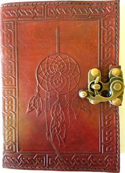 Dreamcatcher leather blank book w/ latch