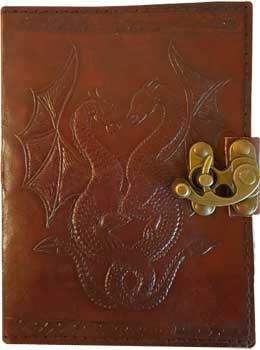 Double Dragon leather blank book w/ latch