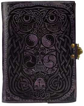 "5"" x 7"" Owl leather blank book w/ latch"
