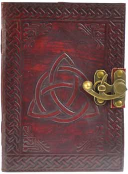 Triquetra leather blank book w/ latch