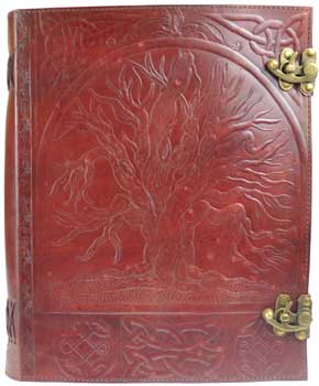 "10"" x 13"" Tree leather blank book w/ latch"