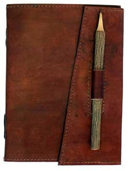leather blank book w/ Pencil Closure