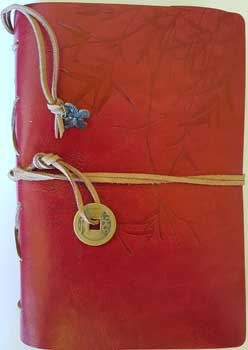 Red I Ching Bamboo leather journal