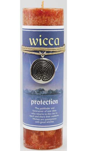 Protection Pillar Candle with Ritual Necklace